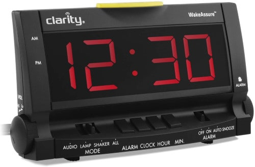 Clarity Wake Assure Alarm Clock 85Db - Black with bed shaker