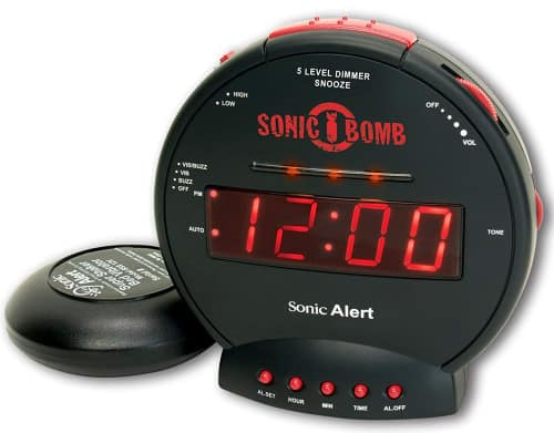 Sonic Alert Bomb Alarm Clock with Bed Shaker Alarm Clock, Vibrating Alarm Clock for Heavy Sleepers, Battery Backup, Full Range Dimmer, Dual Alarm Clock, Deaf and Hard of Hearing