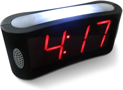 Travelwey Home LED Digital Alarm Clock - Outlet Powered, No Frills Simple Operation, Large Night Light, Alarm, Snooze, Full Range Brightness Dimmer, Big Red Digit Display, Black